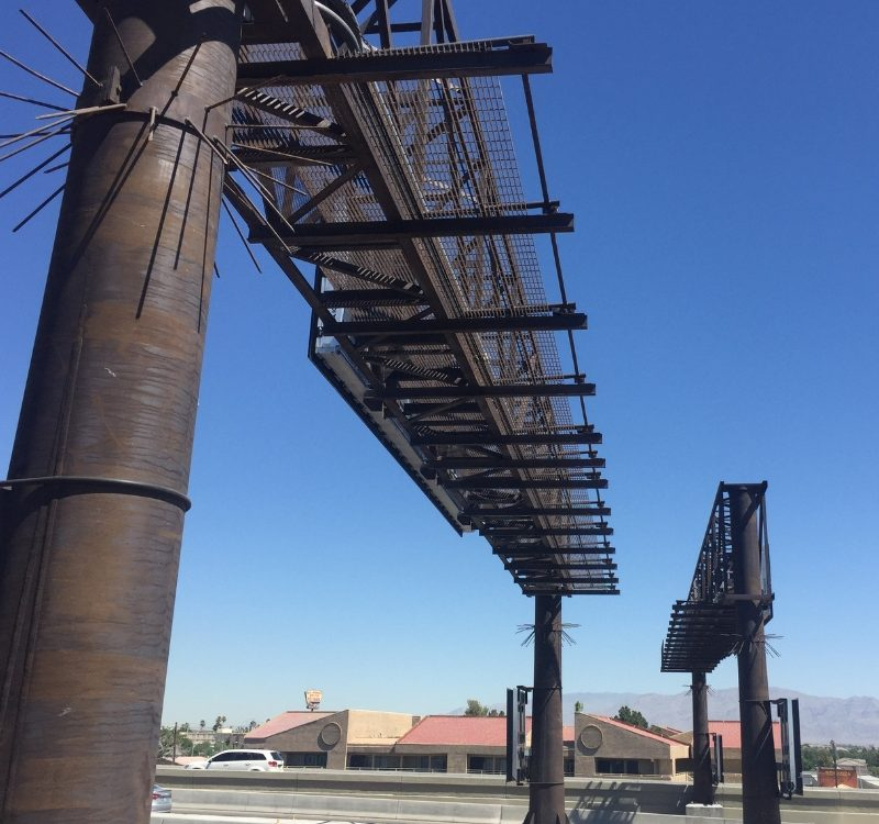 Huge sign structures with the Natina finish along Interstate 15 to downtown Las Vegas