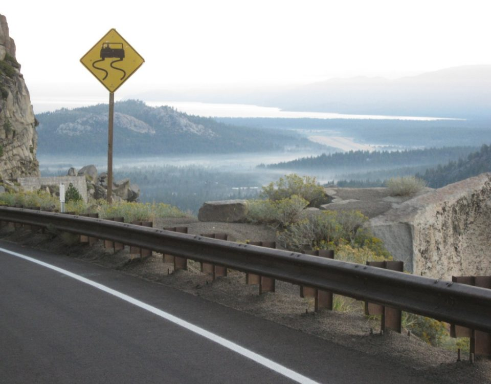 Natina Steel Solution applied to guardrail at Echo Summit in the Lake Tahoe Region