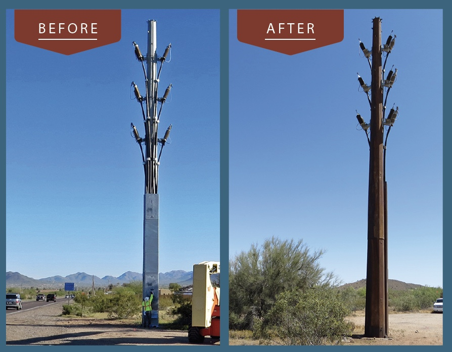 Transmission Pole before and after Natina Staining Solutions