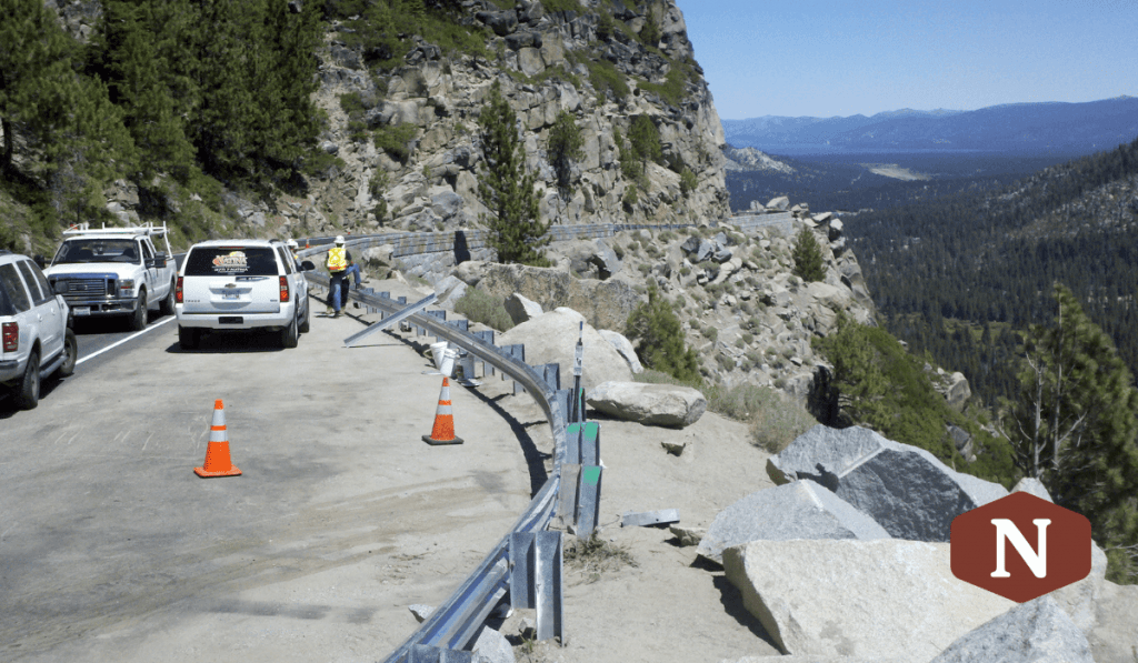 Guardrail before it was treated at Echo Summit in the Lake Tahoe Region